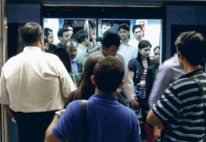 * Passengers on Dubai Metro, are finding it tough to find space on crowded trains during the morning and evening rush hour     * Image Credit: Xpress / Pankaj Sharma