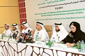 *  Image Credit: Virendra Saklani/Gulf News     * RTA officials (from left) Abdul Reda Hassan, Ramadan Abdullah, Adnan Al Hammadi, Mattar Al Tayer, Eisa Al Dossary and Aisha Al Busmait at the press conference after the inauguration of the Dubai Metro Green Line yesterday.