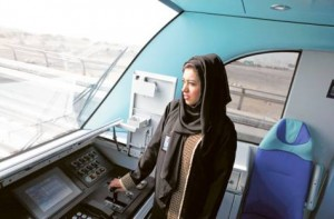 *  Image Credit: Francois Nel /Gulf News     * Mariam Al Safar, the first Emirati woman train attendant, at work on the Dubai Metro. Her duties include train preparation prior to arrival and departure and maintaining security measures for passenger cabins.