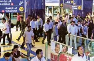 *  Image Credit: Pankaj Sharma/Gulf News archive     * Commuters at the Khalid Bin Al Waleed station. Police made 42 arrests for small crimes at the station in 2011.