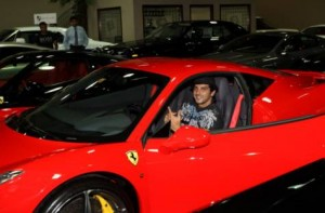 Image Credit: Virendra Saklani/Gulf news     Bollywood actor Zayed Khan gets a feel of a Ferrari Italia 458 car at Exotic Cars showroom in Dubai.