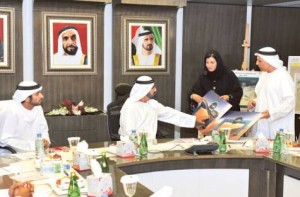 Image Credit: WAM     Shaikh Mohammad, Shaikh Hamdan being shown some of the projects by Mattar Al Tayer.