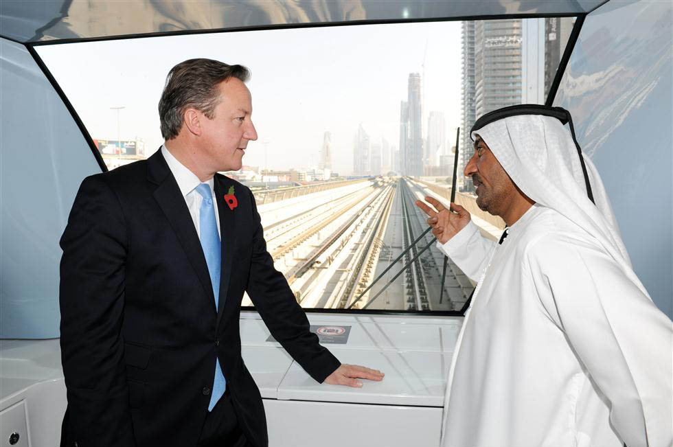 UK PM David Cameron takes a ride on Dubai Metro ...