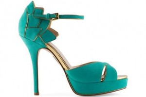 A kelly green and gold shoe from Madonna's collection. Courtesy Madonna: Truth or Dare