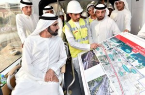 Image Credit: WAM Shaikh Mohammad during the launch of trial operation of Dubai Tram.