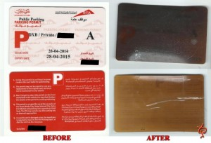An Emirates 24|7 reader sent in an image of his 'solar cooked' parking card. (Supplied)
