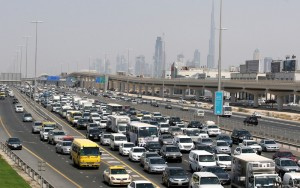 A major traffic congestion builds up on Sheikh Zayed Road in Dubai towards Abu Dhabi as a garbage truck turns over, September 14, 2010.   Photo by Dennis B Mallari