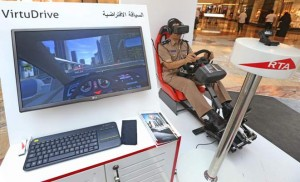 A traffic officer from Oman tests RTA's VirtuDrive simulator during the authority's Gulf Traffic Week event at the Mall of the Emirates in Dubai on Tuesday. - Photo by Dhes Handumon