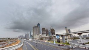 Shaikh Zayed Road in Dubai during a spell of rain early on Friday.Image Credit: Ahmed Ramzan/Gulf