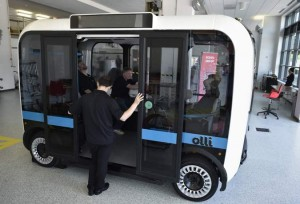 The electric self-driving shuttle is partnership between Local Motors and IBM. (AFP)